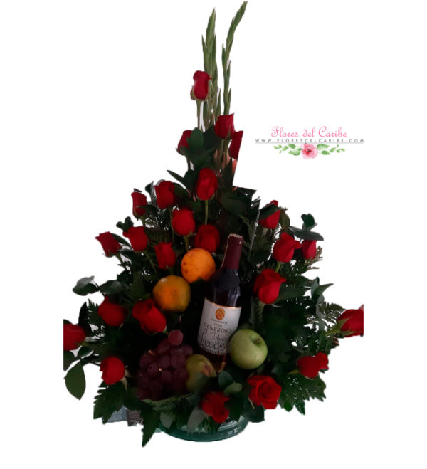 Ramo de rosas y frutas a domiciliov
